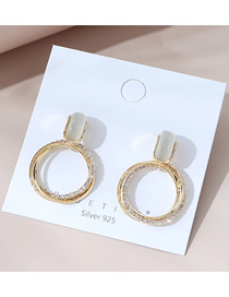 Fashion Golden Real Gold Plated Cutout Opal Round Earrings