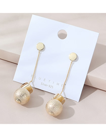 Fashion Golden Real Gold Plated Frosted Round Earrings