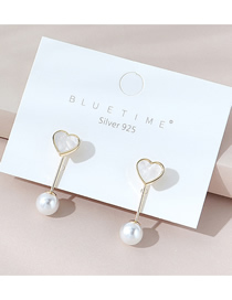 Fashion White Real Gold-plated Love Pearl Earrings