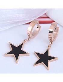 Fashion Rose Gold Titanium Steel Five-pointed Star Oil Drop Earrings Reviews