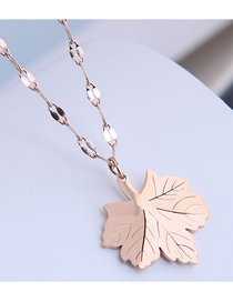 Fashion Rose Gold Maple Leaf Geometric Titanium Steel Necklace