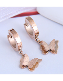 Fashion Rose Gold Double Butterfly Pendant Titanium Steel Earrings