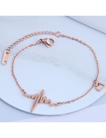 Fashion Rose Gold Ecg Heart Hollowed Titanium Steel Bracelet