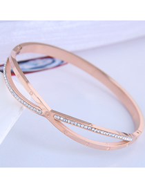 Fashion Rose Gold Titanium Steel Cross Diamond Cutout Bracelet