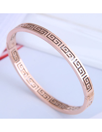 Fashion Rose Gold Titanium Steel Openwork Geometric Open Bracelet