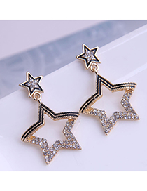 Fashion Gold Color Diamond-studded Five-pointed Star Alloy Hollow Earrings