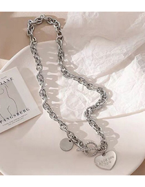 Fashion Silver Stainless Steel Metal Chain Love Heart Pendant Necklace