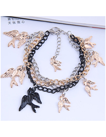 Fashion Color Mixing Metal Swallow Alloy Multilayer Bracelet