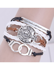 Fashion Silver Color Handcuffs Lion Shield Alloy Handmade Multilayer Braided Bracelet