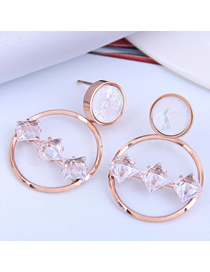 Fashion Gold Color Titanium Steel Crystal Round Hollow Earrings