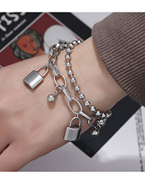 Fashion Silver Color Stainless Steel Lock Double-layer Bracelet