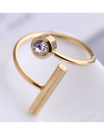 Fashion Gold Color Stainless Steel Diamond Ring