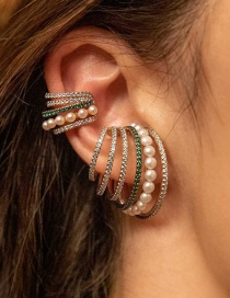 Fashion Green Pearl Multi-layer Color Diamond Earrings