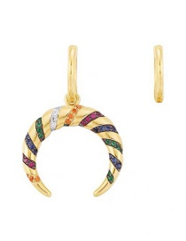 Fashion Color Asymmetric Colorful Striped Earrings