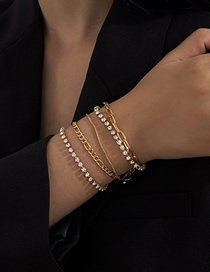 Fashion Golden Multilayer Bracelet Set With Diamond And Micro-inlaid Twist Chain