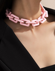 Fashion Pink Clasp Chain Tassel Acrylic Necklace