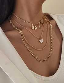 Fashion Golden Multi-layer Cross Chain Letter Baby Butterfly Necklace Set
