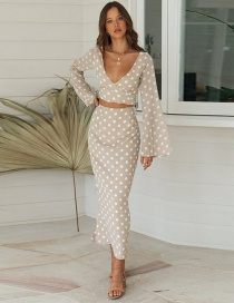 Fashion M Beige Polka Dot Short V-neck Long Sleeve Top Mermaid Half Skirt Suit Set