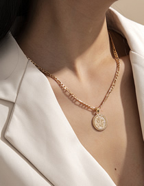 Fashion Golden Chain Round Alloy Necklace