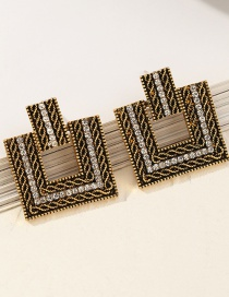 Fashion Golden Square Diamond Earrings