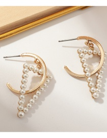 Fashion Golden C-shaped Alloy Triangle Earrings With Pearls