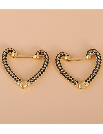 Fashion Black Geometric Heart Square Earrings