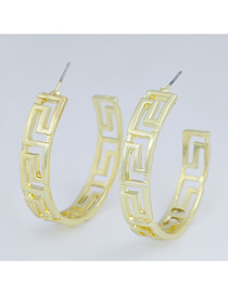 Fashion Gold Color C-shaped Alloy Hollow Earrings