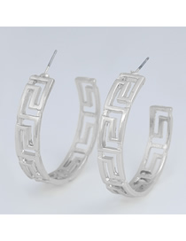 Fashion Silver Color C-shaped Alloy Hollow Earrings
