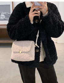 Fashion Khaki Plush Lock Flap One-shoulder Crossbody Bag