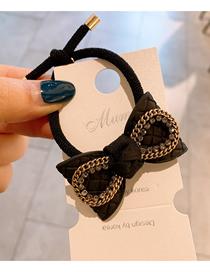 Fashion Black Handmade Rhinestone Bow Hair Rope