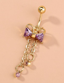 Fashion Gold Color Micro-inlaid Zircon Bowknot Pierced Belly Button Nail