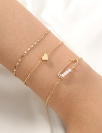 Fashion Gold Color Pin Love Pearl Multilayer Bracelet
