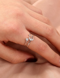 Fashion Silver Color Micro-set Zircon Moon Adjustable Ring