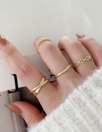 Fashion Gold Color Crossed Pig Nose Copper Gold Plated Ring Set