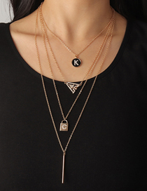 Fashion Gold Color Letter Diamond Lock Shaped Alloy Multilayer Necklace