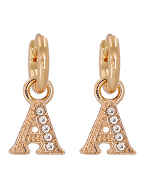 Fashion A-gold Gold-plated Copper Earrings With Diamonds