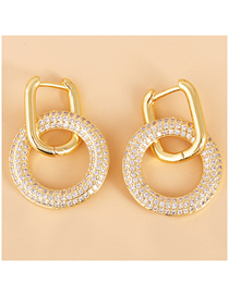 Fashion Gold Color Geometric Round Earrings With Diamonds
