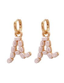 Fashion A Gold Color Letter Pearl Alloy Hollow Earrings
