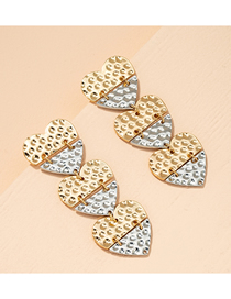 Fashion Gold Color Geometric Love Contrast Alloy Earrings