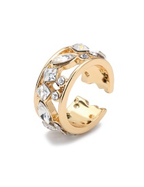 Fashion Transparent Color Diamond-studded Alloy Hollow Geometry Without Pierced Ear Clips