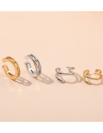 Fashion Style One C-shaped Geometric Double-layer Alloy Non-pierced Earrings Set