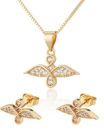Fashion Gilded Zirconium Inlaid Bird Gold-plated Copper Earrings And Necklace Set