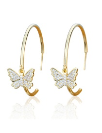 Fashion Gold-plated White Zirconium Gold-plated Copper Earrings With Diamonds And Butterflies