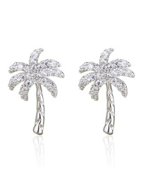 Fashion Platinum-plated White Zirconium Coconut Tree Gold Plated Earrings With Diamonds