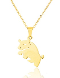 Fashion Gold Color Titanium Steel Smooth Cow Necklace