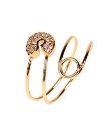 Fashion Gold Color Brooch Open Diamond And Gold Plated Copper Ring