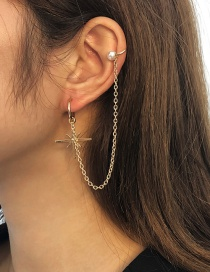 Fashion Gold Color Alloy Pearl Chain Awning Star Ear Clip