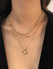 Fashion Gold Color Alloy Multilayer Ring Necklace