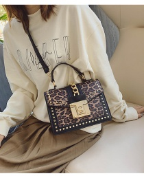Fashion Leopard One Leopard Print Buckle Rivet Shoulder Crossbody Bag