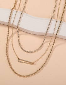 Fashion Gold Color Diamond-studded Safety Pin Rhinestone Chain Multi-layer Necklace